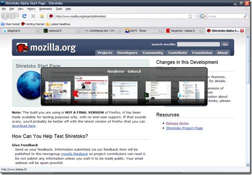 paspausk bus didesnė - Firefox 3.1 Ctrl+Tab