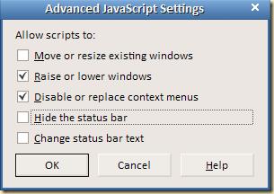 Firefox javascript nustaymai