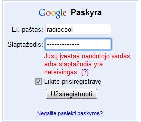 google slaptažodžio atstatymas