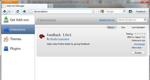 Firefox 4.0 addons manager