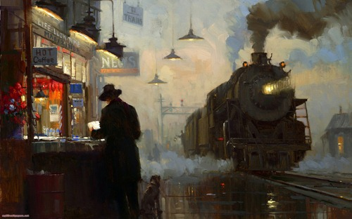 Train-station-painting-original