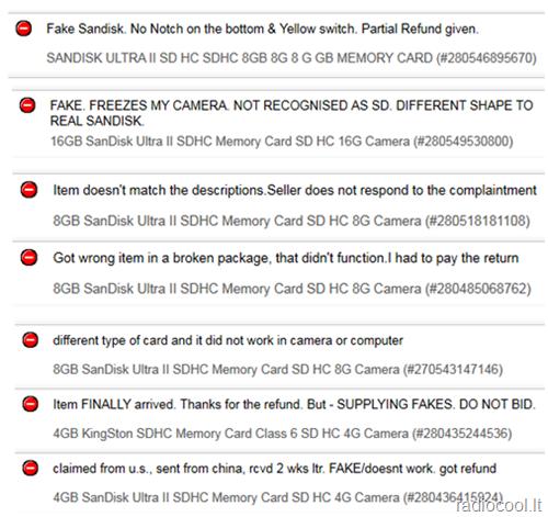 Ebay atsiliepimai apie pardavėją.