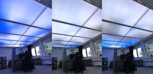 Die dynamische Lichtdecke vermittelt dem Büroangestellten das Gefühl, unter freiem Himmel zu arbeiten.