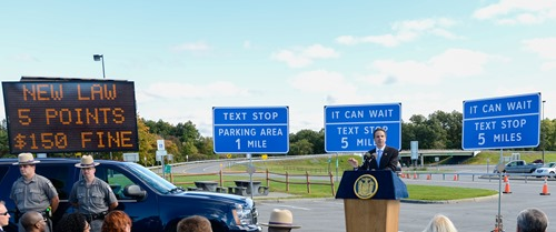 September 23, 2013-New Baltimore- Governor Andrew M. Cuomo announces new  signage on NYS Thruway that re-enforce no texting while driving including signs that indicate texting stops for safe texting and explains tougher penalties now in place for people who text while driving.