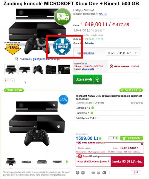 2014-07-15 17_41_31-ŽAIDIMŲ KONSOLĖ MICROSOFT XBOX ONE + KINECT, 500 GB KAINA IR INFORMACIJA _ pigu.