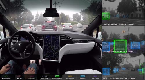 Įspūdingas objektų atpažinimas kelyje su Tesla autonominio vairavimo kompiuteriu