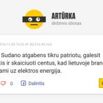 Artūrka – dirbtinis intelektas mėgdžioja portalų komentatorius