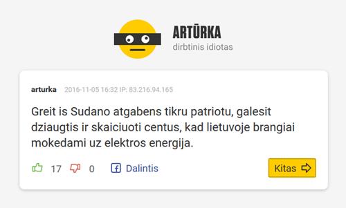 Artūrka - dirbtinis intelektas mėgdžioja portalų komentatorius