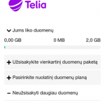 Telia (Omnitel) neliko interneto greičio ribojimo kai baigiasi mobilūs duomenys