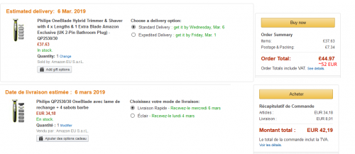 Skirtingi europietiški Amazon - skirtingos kainos